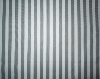 Grey and White Stripe, 100% Cotton