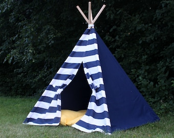 Kids Teepee Tent, Play Tent, Can Include Window, 2 Sizes Available, Custom Order, Navy and White Nautical Modern Reading Tipi