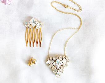 Crystal Rhinetone jewelry set, Necklace and hairckmb set, rhinestone pendant necklace, gold bridal jewelry, gold bridesmaid jewelry, wedding