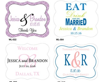 100 - 2 x 1.625 inch Die Cut Custom Glossy Waterproof Wedding Stickers Labels - many designs to choose - change designs any color or wording
