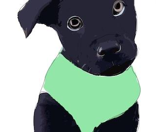 Labrador Pitbull mix puppy. Digital sketch