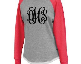 Monogram Raglan Sweatshirt Tunic - Monogram Sweatshirt - Monogram Ladies Raglan - Monogram Raglan Hi-Lo Fleece Tshirt - #EtsyGift