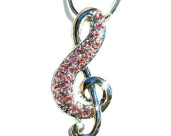 Pink Swarovski Crystal TREBLE G CLEF Love Music Musical Note Charm Pendant Necklace Christmas Gift new