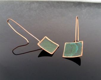 Patinated Copper Square Earrings