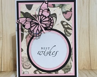 Thank you card, best wishes card, greeting card, handmade card, floral design, pink, butterfly, occasion card