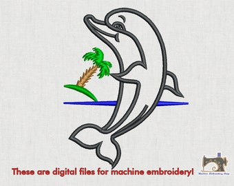 Dolphin with palm embroidery design for instant download