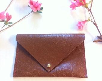 Italian cracked brown leather envelope wallet