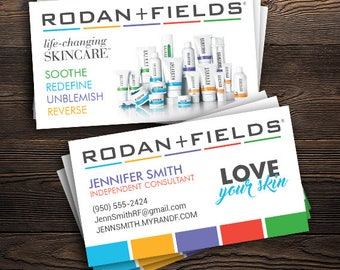 "Rodan and Fields Business Cards (PRINTED), R+F Consultant - 2"" x 3.5"", Custom Info, FREE SHIP"