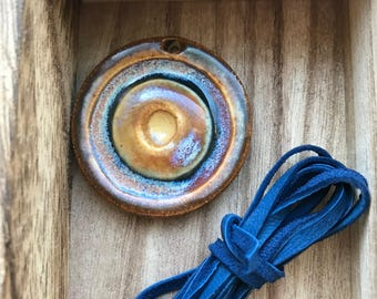 Only one, Denim blue & gold pendant with deerskin sample, Art Bead, Classic Bead, The Classic Bead
