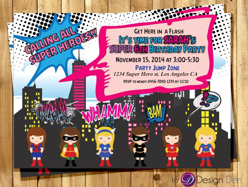 Super Hero Girls Birthday party Invitations. /Calling All