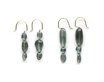 Moss Aquamarine Earrings with 3 Stones - March Birthstone Jewelry - 14K Gold Filled