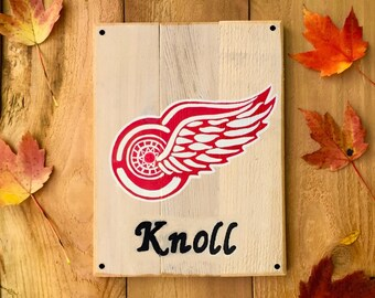 Personalized Detroit Red Wings Wooden Outdoor Sign