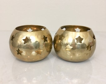 Brass Star Candle holders Bowls Cups Pair