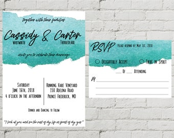 Blue Watercolor Printable Custom Digital Wedding Invitation and RSVP Set Modern Chic