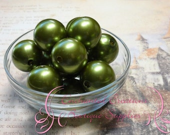 24mm Light Olive Green Acrylic Pearl Beads Qty 6