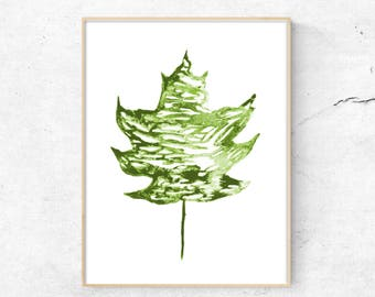 Maple Leaf Print, Modern Wall Art, Abstract Art, Minimalist Wall Art, Printable Art, Art Prints, Digital Prints, ink, Instant download