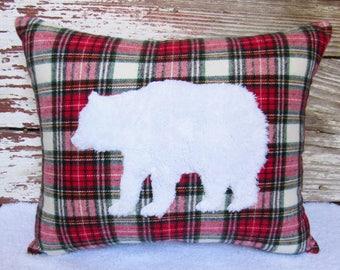 plaid flannel fur bear pillow