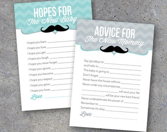 "Little Man Baby Shower Advice Cards – Instant Download – 5"" x 7"" Printable Advice Cards for Mommy-to-be and Hope Cards for the New Baby"