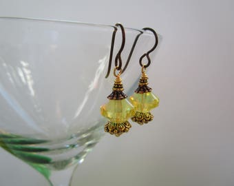 Feminine Yellow *Sale* Czech Glass Dressy Earrings Hypoallergenic & Sparkly Earrings with Antique Copper Niobium Ear Wires and Fancy Glass