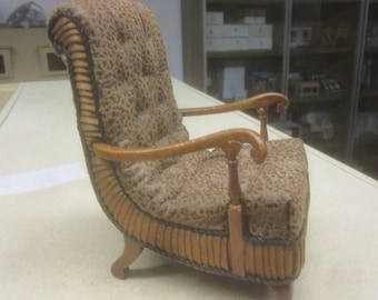 12th scale Art Deco upholstered Armchair JJ07032WN