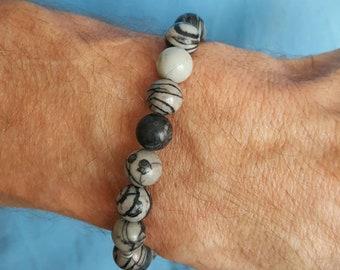 Men's Mala bracelet made with gemstone beads black white striped impression jasper and hemal spacer beads Yoga Buddha Bracelet