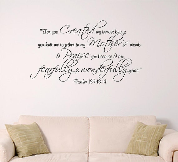 & Psalm 139 Wall decal Bible Verse Decal Nursery Dorm Church