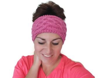 Knitting Pattern PDF :Women's headwrap / earwarmer, Messy bun hat, Celtic Cables, Last minute Christmas Gift,