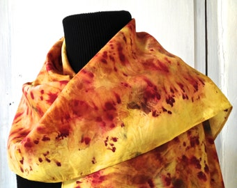 91 vegetable dye silk scarf, contact dyeing