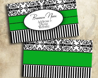 Elegant Green Black & White Damask Business Card Template Digital INSTANT DOWNLOAD 3.5 x 2 Inches Calling Card (BC22)