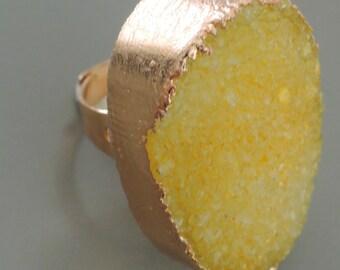 Druzy Ring - Gold Ring - Yellow Ring - Drusy Ring - Statement Ring - Boho Ring - Adjustable Ring - handmade jewelry