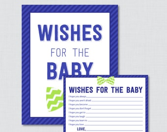 Blue Bow Tie Wishes for Baby - Printable Well Wishes for the Baby or Little Man Cards and Sign - Instant Download - Bow Tie Wishes 0007-B