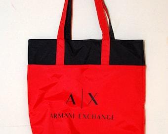 ARMANI EXCHANGE TOTE vintage 90s hand bag giorgio shopper navy blue red  duffel duffle ax cologne cd2ee834db