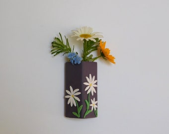 Magnetic Flower Vase, polymer clay daisy refrigerator magnet