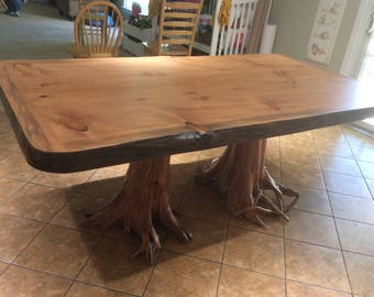 Rustic Dining Table, Large Dining Table, Conference Table, Two Stump Table, Live Edge Table, Rustic Table, Slab Table, Office Table