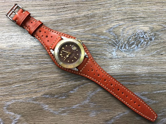 Full bund strap, Handmade Leather Cuff watch band, Leather Cuff watch Strap 20mm, leather watch band, orange leather band - Free Shipping