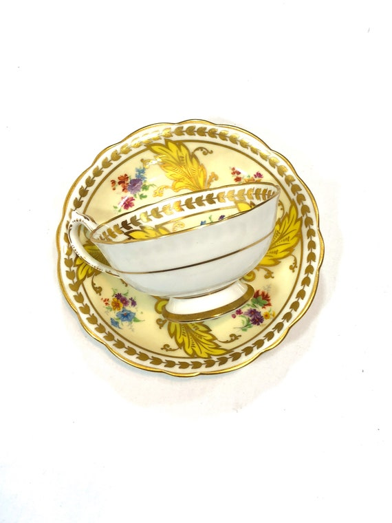 Hand Painted Tea Cup Saucer, Rare Star Paragon English Teacup, Cream Yellow Leaves, Flowers Gilded Foliate Motif, 1920s Antique China