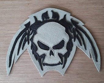 Skull leather patch