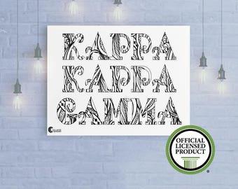 Kappa Kappa Gamma KKG Coloring Poster Various Sizes   Dorm Apartment Decor   Adult Coloring   Custom Kappa Art Print   Birthday Graduation