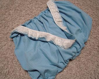 Blue Linen and Lace Gathered Shoulder Bag