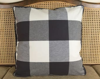 Charcoal and Ivory Buffalo Plaid Pillow Cover