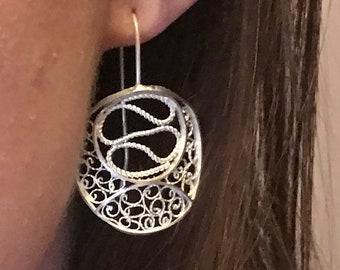 silver filigree earings