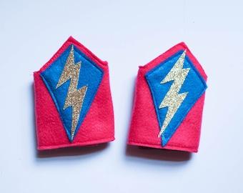 Lightening Bolt Superhero Wrist Cuffs / Pink Blue Gold / Arm Bands / Kids Costume Accessories