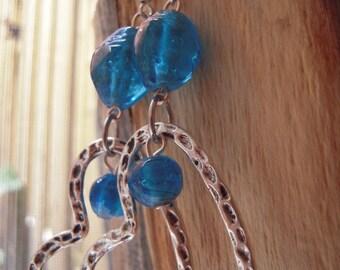 Heart blue earrings