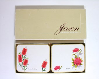 Set of 6 Jason Coasters - Pacemats of Distinction - Made in New Zealand - 1970 - Retro Floral Design - Party Time Kitchenware