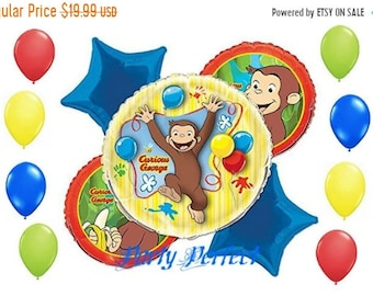 ON SALE 13 Pc Curious George Balloons bouquet kit  Birthday party balloons