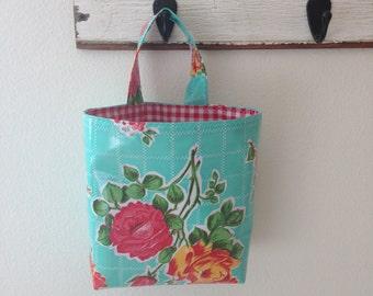 Beth's Aqua Vintage Rose Oilcloth Car Trash Bag Haning Receptacle