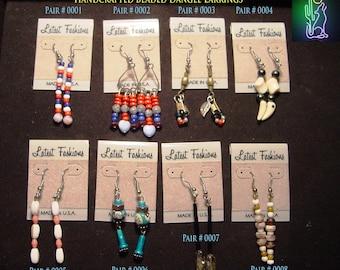 Handcrafted Beaded Dangle Earrings    CLEARANCE
