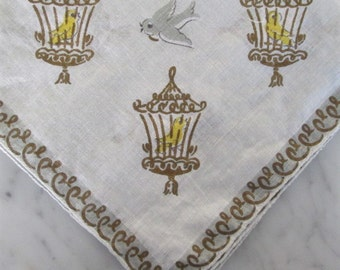 Vtg Handkerchief / Canary in cage with grey dove gilding Novelty hankie