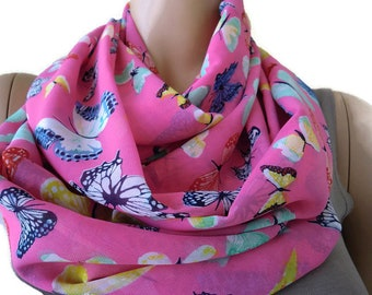 Pink scarf with butterflies Chiffon Infinity scarf  cowl   Necklace scarf -Tube version