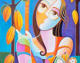 Peinture abstraite Art originale huile toile poisson Megan